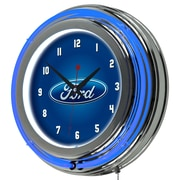 Ford Chrome Double Rung Neon Clock - Ford Oval (886511971820)