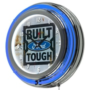 Ford Chrome Double Rung Neon Clock - Built Ford Tough (886511971783)