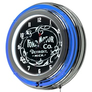 Ford Chrome Double Rung Neon Clock - Vintage 1903 Ford Motor Co. (886511971790)