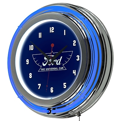 Ford Chrome Double Rung Neon Clock - The Universal Car (886511971806)