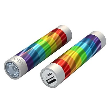 Mota® Tamo Super Lightweight Battery Stick with LED Flashlight, 2200 mAh, Rainbow (STIK22-RINBW)