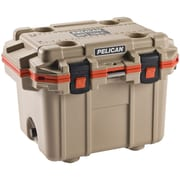 PELICAN 30Q-2-TANORG 30-Quart Elite Cooler (Tan with Orange Trim)