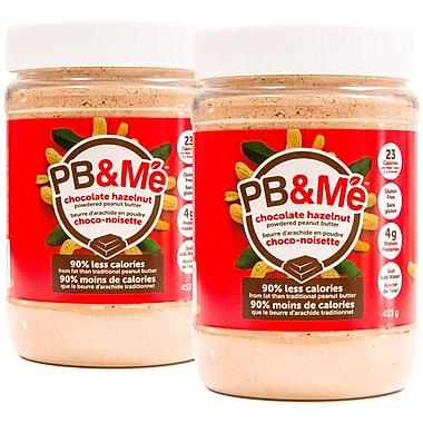 PB&Me – Beurre d'arachides en poudre, 90 % moins de gras, 1 lb, chocolat/noisettes, 2/paquet (PB-101-C)