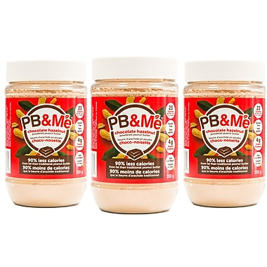 PB&Me Powdered Peanut Butter, 90% less fat, 200g, Chocolate Hazelnut, 3/Pack (PB-201-C)