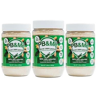 PB&Me – Beurre d'arachides en poudre, 90 % moins de gras, 200 g, naturel et sans sucre, 3/paquet (PB-201-N)