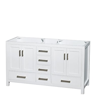 Wyndham Collection Sheffield 60'' Double Bathroom Vanity Base; White