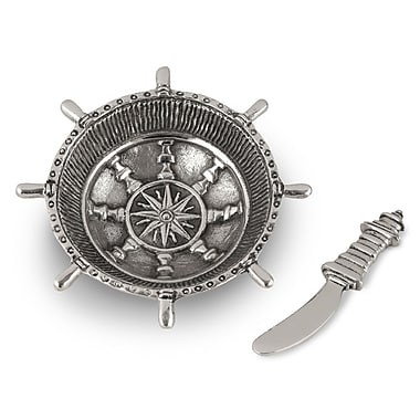 Star Home Nautical Steering Wheel Dip Dish and Spreader (Set of 2)