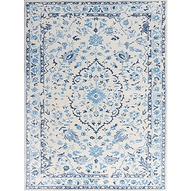 AMER Rugs Artist Hand-Tufted White/Blue Area Rug; Rectangle 2' x 3'