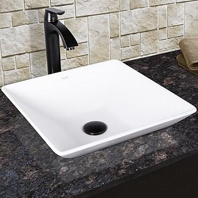 Vigo Matira Square Vessel Bathroom Sink w/ Faucet