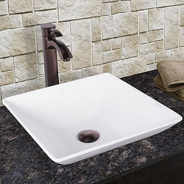 Vigo Matira Square Vessel Bathroom Sink w/ Faucet