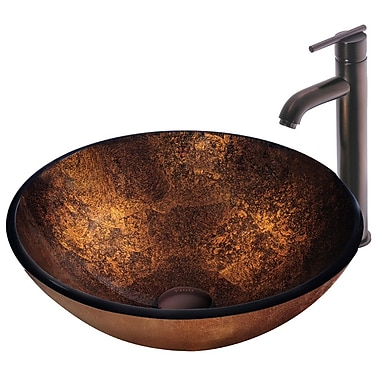 Vigo Russet Glass Circular Vessel Bathroom Sink w/ Faucet