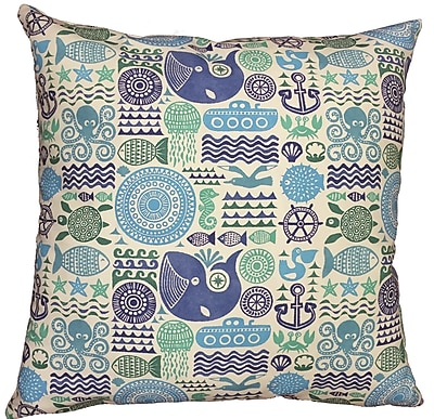Collier Sun Under the Sea Throw Pillow; 17.5'' H x 17.5'' W