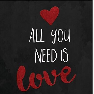 Secretly Designed 'Chalkboard heart all you Need is Love' Textual Art