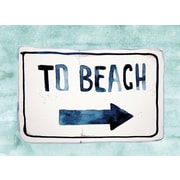 Secretly Designed 'To the Beach' Textual  Art in Turquoise