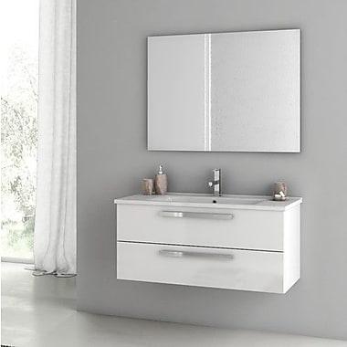 ACF Dadila 38.2'' Single Bathroom Vanity Set w/ Mirror; Glossy White