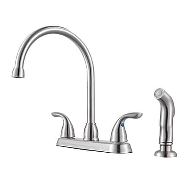 Pfister Double Handle Standard Kitchen Faucet; Stainless Steel