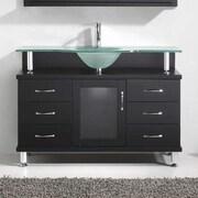 Virtu Vincente 48'' Single Bathroom Vanity Set w/ Frosted Tempered Glass Top; Black