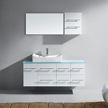 Virtu Ceanna 53'' Single Bathroom Vanity Set with Tempered Glass Top and Mirror; White