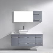 Virtu Ceanna 53'' Single Bathroom Vanity Set with White Artificial Stone Top and Mirror; Grey
