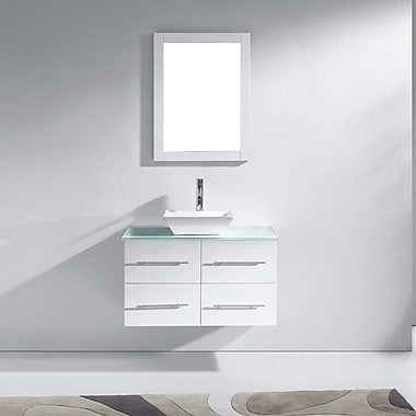Virtu Marsala 35'' Single Bathroom Vanity Set with Tempered Glass Top and Mirror; White