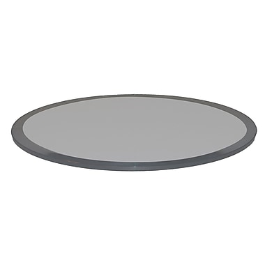 Fab Glass and Mirror Round Beveled Tempered Glass Table Top; Grey