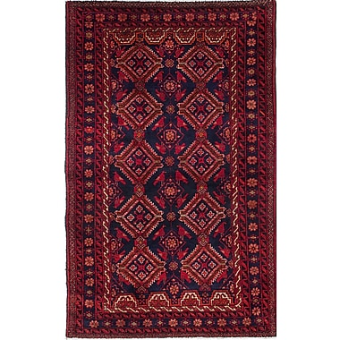 ECARPETGALLERY Baluch Hand-Knotted Blue/Red Area Rug