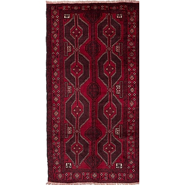 ECARPETGALLERY Baluch Hand-Knotted Red Area Rug