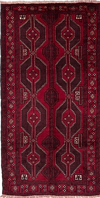 ECARPETGALLERY One-of-a-Kind Baluch Hand-Knotted Red Area Rug
