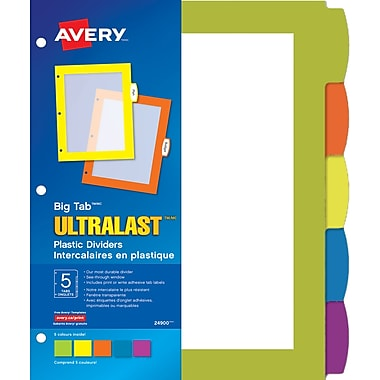 Avery® - Séparateurs Big Tab™ UltraLast™ en plastique, 8,5 x 11 po, ens./5 onglets, multicolore (24900)