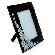 Novica Summer Clover Mango Wood and Pewter Picture Frame