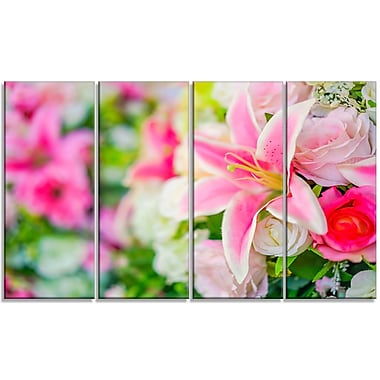 DesignArt 'Beautiful Lily Flowers in Bouquet' 4 Piece Photographic Print on Wrapped Canvas Set