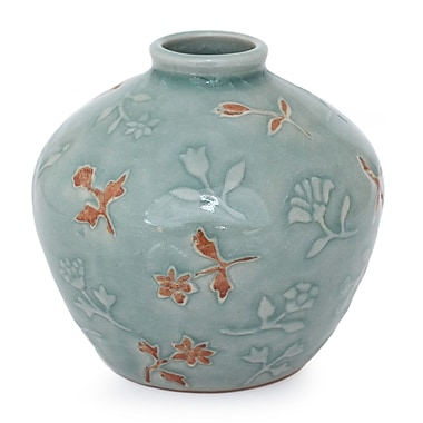Novica Autumn in My Heart Celadon Ceramic Vase