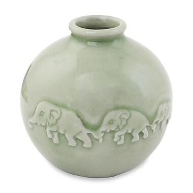 Novica Elephant Parade Celadon Ceramic Vase