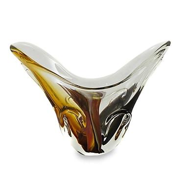 Novica Earthtone Hand Blown Art Glass Table Vase