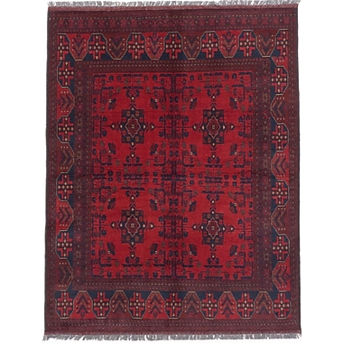 ECARPETGALLERY Khal Mohammadi Hand-Knotted Red Area Rug
