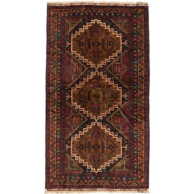 ECARPETGALLERY Rizbaft Hand-Knotted Black / Brown Area Rug
