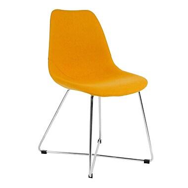 Kanto – Chaise d'appoint Artika-X en laine avec base en acier inoxydable brossé, ensemble de 4, jaune