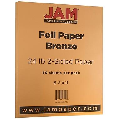 JAM PaperMD – Papier métallisé double face, 8 1/2 x 11 po, bronze, 50 feuilles/paquet