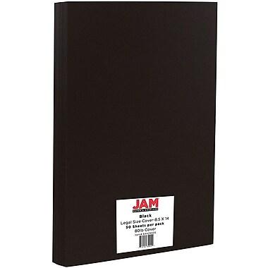 JAM Paper® Matte Legal Cardstock, 8.5 x 14, 80lb Black, 50/Pack (64429505)