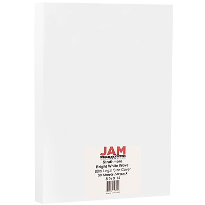 JAM Paper® Strathmore Legal Cardstock, 8.5 x 14, 80lb Bright White Wove, 50/pack (17428894)