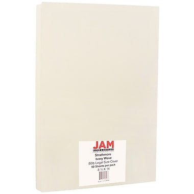 JAM Paper® Strathmore Legal Cardstock, 8.5 x 14, 80lb Ivory Wove, 50/Pack (17428906)
