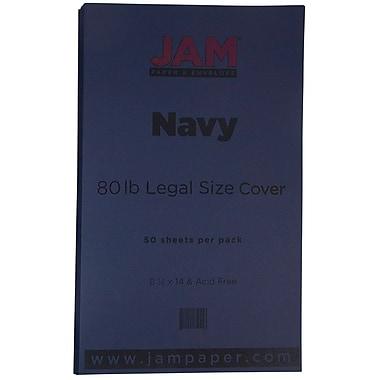 JAM Paper - Papier cartonné mat de format légal, 8,5 x 14 po, 80 lb, bleu marine, 50/paquet (64429515)