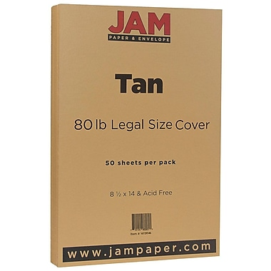 JAM Paper® Matte Legal Cardstock, 8.5 x 14, 80lb Light Brown Tan, 50/Pack (16729546)