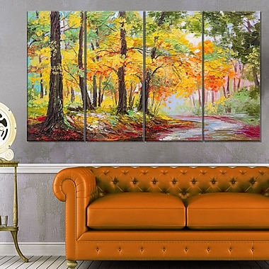 Colourful Autumn Forest Landscape Metal Wall Art, 48x28, 4 Panels, (MT6016-271)