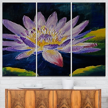 Purple Lotus Flower Floral Metal Wall Art, 36x28, 3 Panels, (MT6004-36-28)