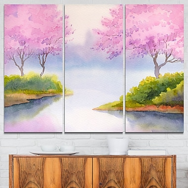 Flowering Trees Over River Landscape Metal Wall Art, 36x28, 3 Panels, (MT6006-36-28)