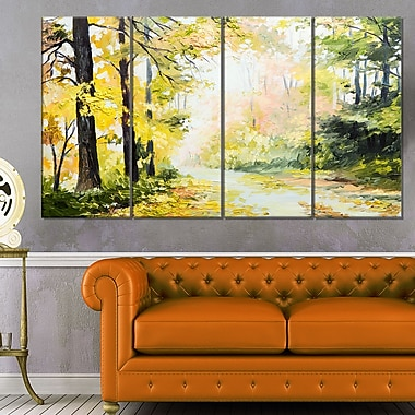 Road in Colourful Forest Landscape Metal Wall Art, 48x28, 4 Panels, (MT6007-271)