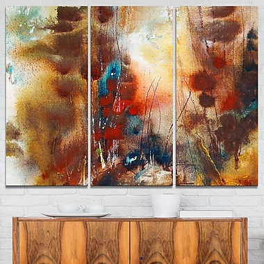 Artistic Brown Abstract Metal Wall Art, 36x28, 3 Panels, (MT6013-36-28)