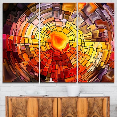 Return of Stained Glass Contemporary Metal Wall Art, 36x28, 3 Panels, (MT6014-36-28)