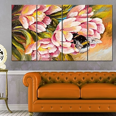 Bee Sitting on Flower Floral Metal Wall Art, 48x28, 4 Panels, (MT6020-271)
